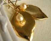 Kyra...vintage leaf dangle earrings