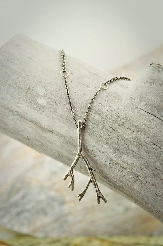SALE Oxidized Sterling Oak Branch Necklace