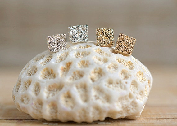 Silver Square Coral Earrings | Silver Earrings | Nature Inspired