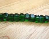 Green Czech Cube Glass Beads