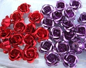 Aluminum Flower Beads in Red and Purple  17 mm