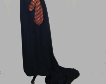 Custom Pinstriped Maxi Skirt with Train YOUR SIZE