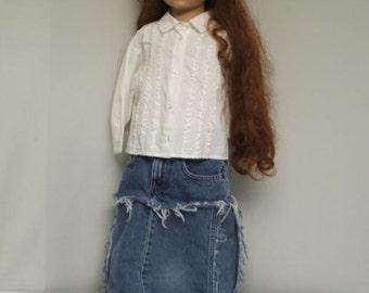 CUSTOM Kids weathered denim maxi skirt