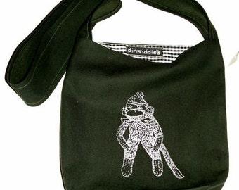 Sock Monkey messenger Crossbody  bag