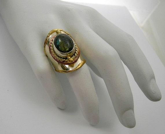 adjustable ring labradorite dark olive green funky style 12735f