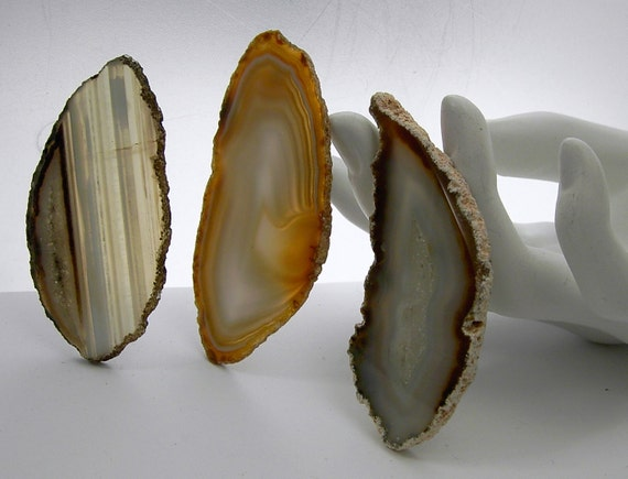 Three  Agate  Slices tan beige  undrilled    for Jewelry  Pendants Necklaces Cuffs Windchimes Stained Glass  Mosaics beigetrio5