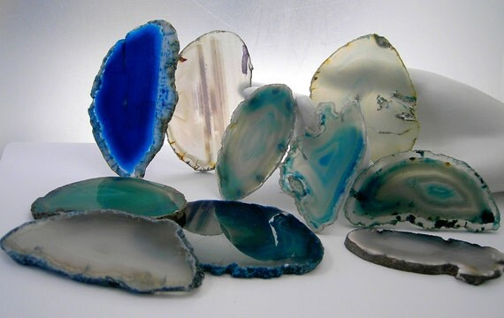 10 Pieces Agate Geodes SECONDS sand and sea blue and beige  for Jewelry Windchimes Stained Glass or Gemtree Bases  seconds19