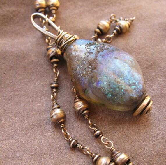 Blue and Green Basha Bead on Handmade Brass Beaded Chain