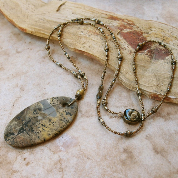 SALE Chinese Scenery Stone Pendant,  Ammonite, Pyrite, Seed Pearl, African Trade Brass Bead Strand