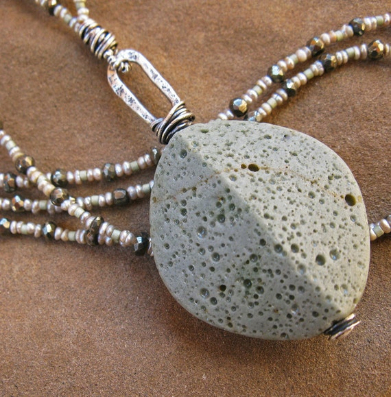 SALE  Antique Foundry Glass, Sterling, Faceted Pyrite and Seed Pearl Necklace