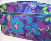 Vintage 60s Mod Flower Travel Suit Case Tote Satchel Suitcase Purse Bag