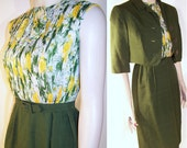 60s Vintage Wiggle Dress and Bolero Green Yellow Chiffon & Silk Shantung XS