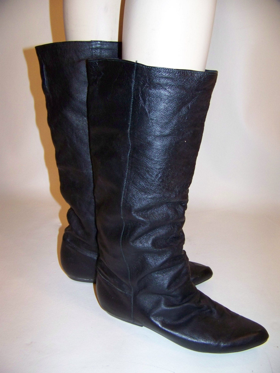 80s vintage black leather slouch boots flat pixie pirate knee