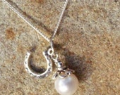 Lucky Horseshoe and Pearl Charm Necklace