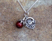 Ruby Red Pearl with Claddagh Charm Necklace