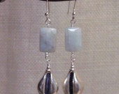 Aquamarine and Sterling Shell Earrings