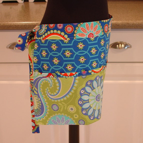 Craft Vendor Apron  . . . in paisley aqua and sapphire with moonflower blue