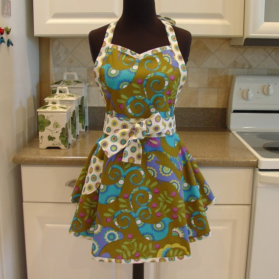 SweetHeart Apron - Pretty Bird in Olive with Bloomies in Meadow