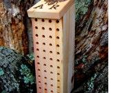 Mason Bee Garden Nest with Woodburned Bee Logo, Reclaimed Wood