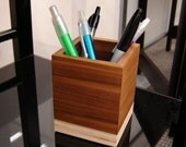 Modern Minimalist Style Pencil Cup from Reclaimed Wood and Salvage Plywood