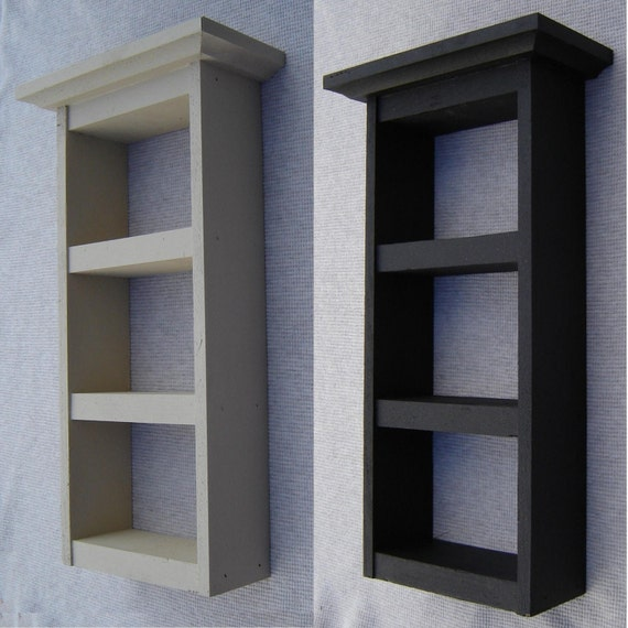 Decorative Shelf, Recycled Wood, Hand Painted Coal or Snow