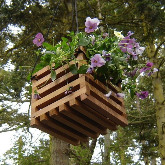 Recycled Wood Hanging Basket Planter By Andrewsreclaimed