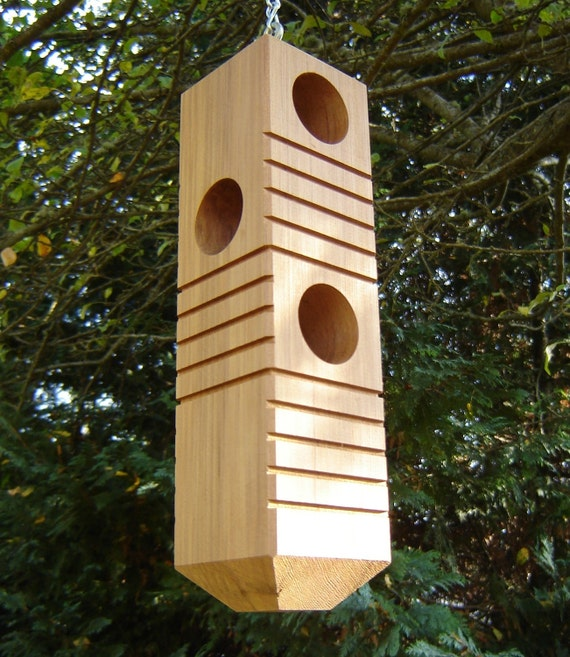 Woodpecker Bird Feeder From Recycled Wood, with Chain and 6 Feeding Stations, Large