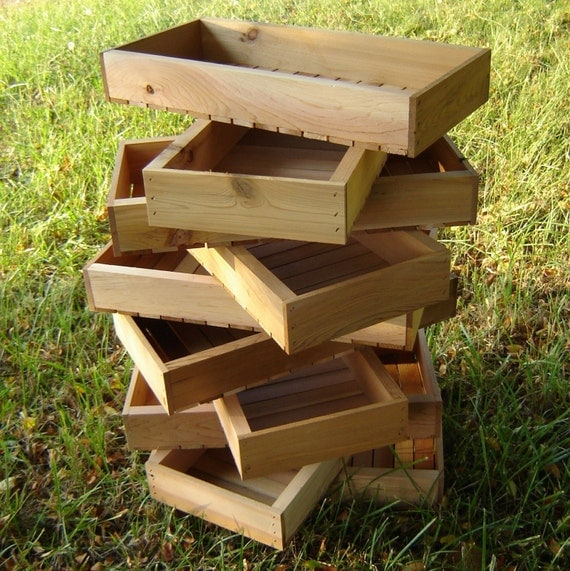 Wooden Crates, Seed Starting Trays, Produce Displays, DIY Kit of Five with Assembly Guide and Hardware