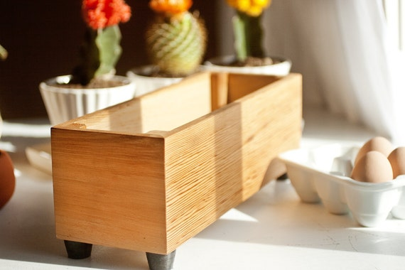 Wood Herb Planters, Gift Pack of Three