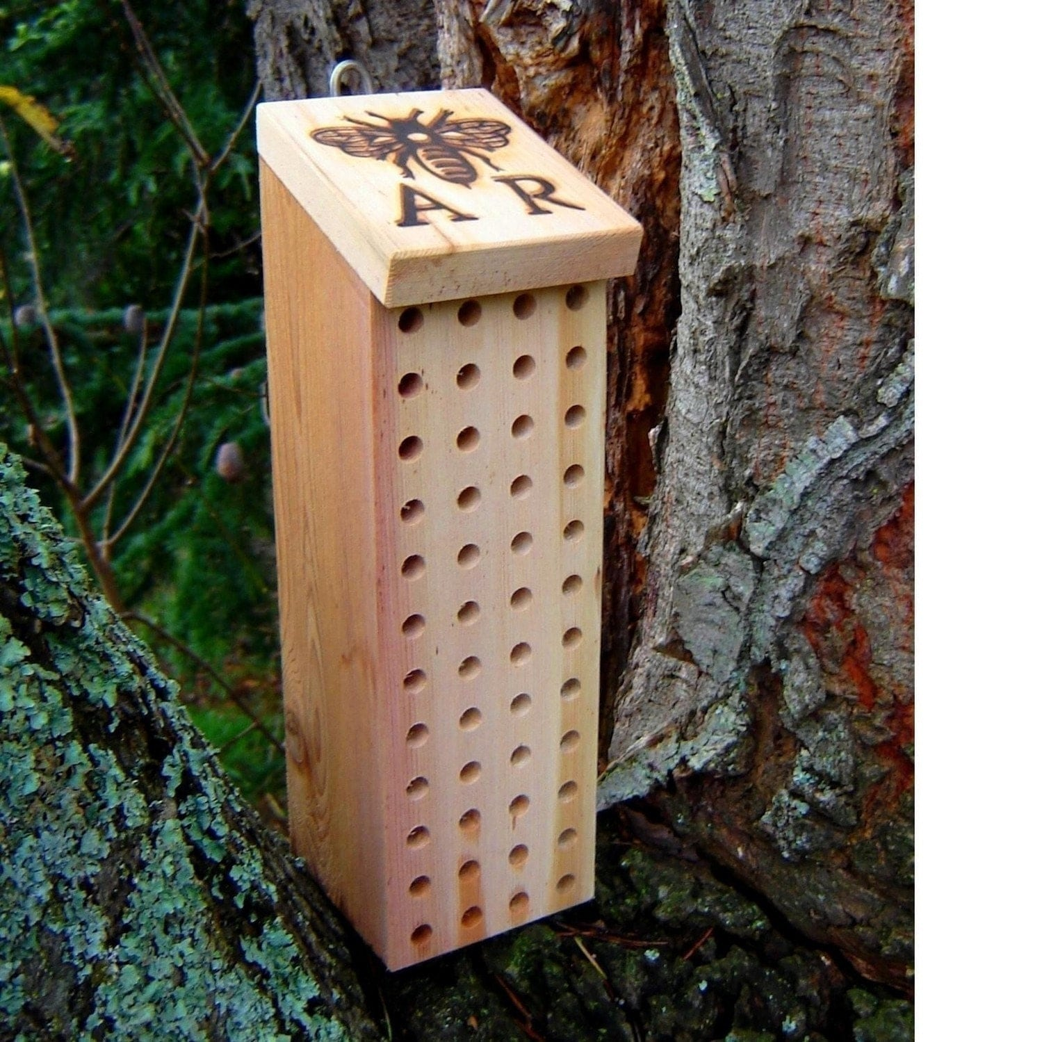 Mason bee house with ar bee brand reclaimed by for Hive homes