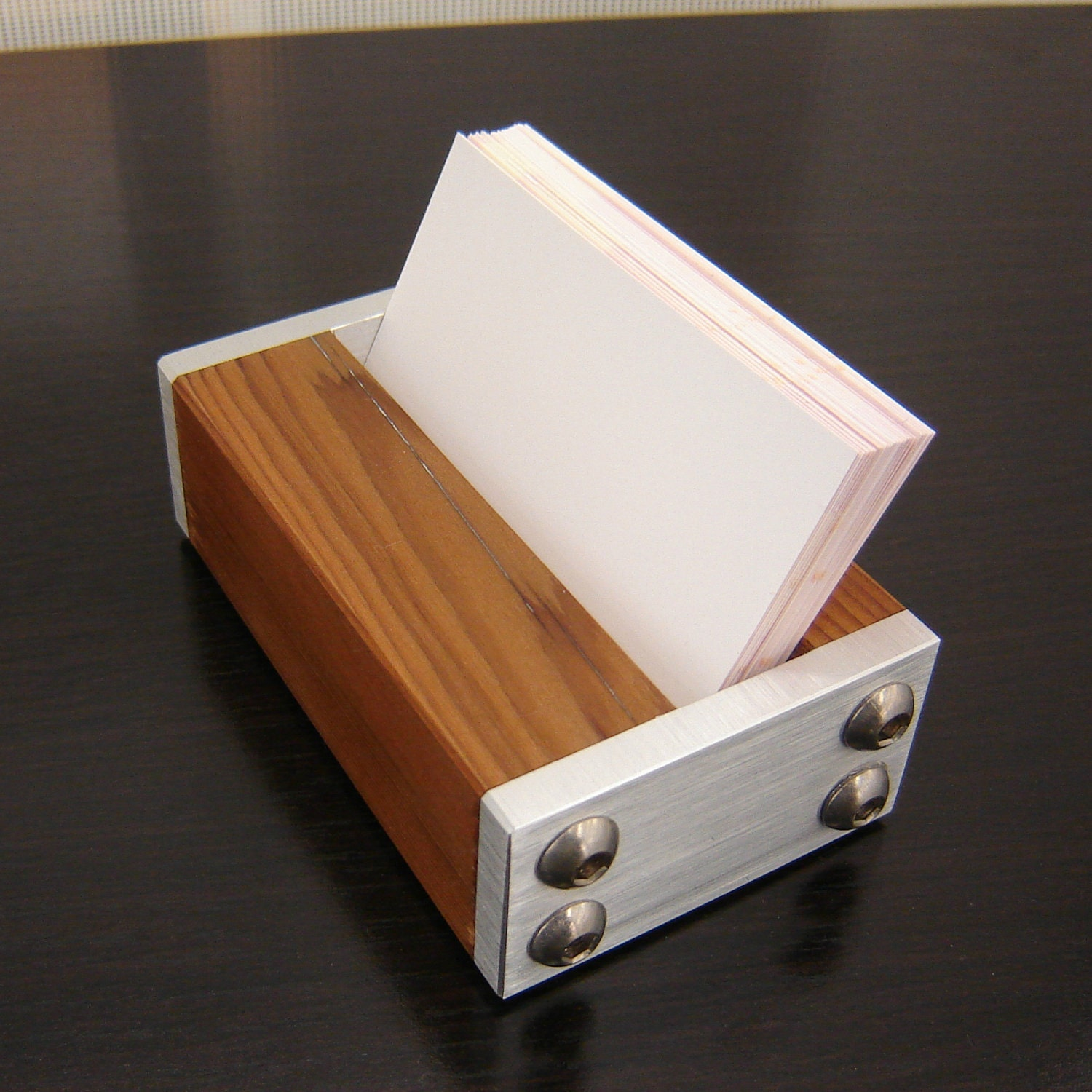 Modern Business Card Holder From Machined Aluminum And