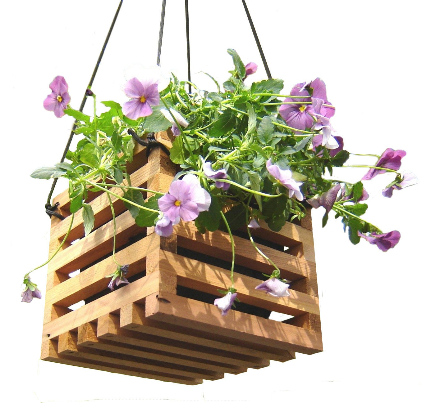 hanging basket planter from reclaimed wood. Black Bedroom Furniture Sets. Home Design Ideas