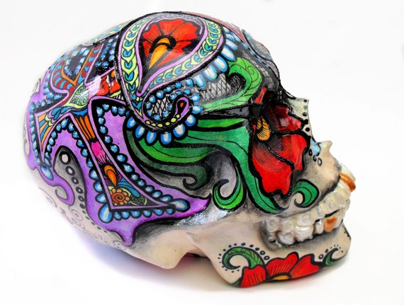 Hand Painted Ceramic Skull Bank in Purple Ank and Paisley Floral Motif