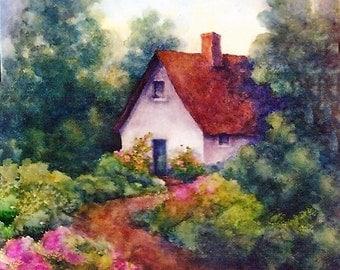 Irish Cottage and Garden Path, FREE SHIPPING