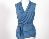 Sleeveless Classic Wrap Top - Medium Blue
