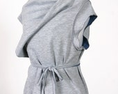 reversible grey and blue mod wrap top