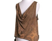 Asymmetrical Draped Tank Top - Hand Dyed Golden Brown