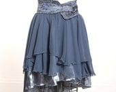 Blue Chiffon and Satin High-Low Asymmetric Slope Skirt
