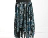 Long Black and Teal Print Chiffon Gypsy Skirt
