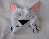 white kitty felt mask