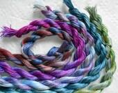 Blue, Purple, Bronze, Perle Fine, 5 pack, Yarn, Serendipity, Mixed Media, Textile Art, Fiber Art, Hand dyed in the UK