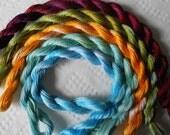 Blue, Yellow, Burgundy, Green, Perle Fine, Thread, Unique, Pack of 5, Mixed Media, Textile Art, Fiber Art