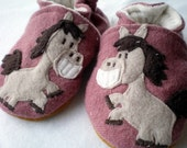 Custom for jbarky - Embellished  Wool Baby or Toddler Slipper / Shoe Slot - Lined with BAMBOO VELOUR
