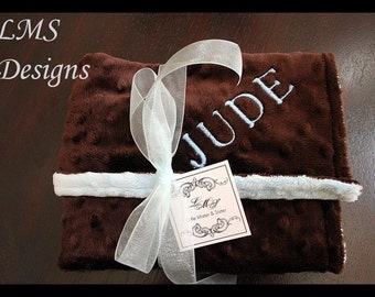 Personalized Baby Boy Brown And Blue Minky Blanket~Large~Name~Stroller Blanket~Shower Gift~