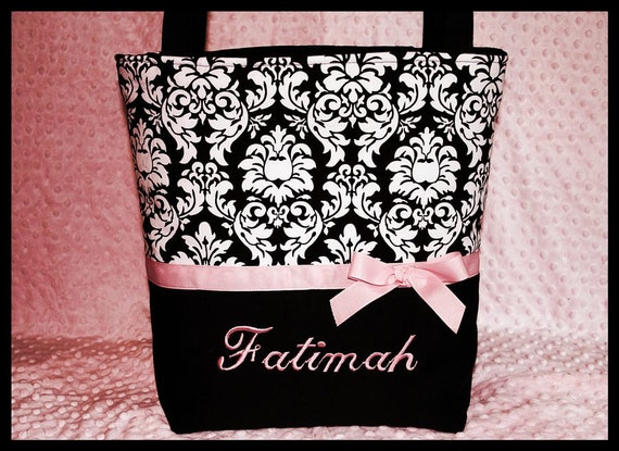Personalized Baby Girl Damask Diaper Bag~Travel~Toddler~Monogrammed~Name~Handcrafted~