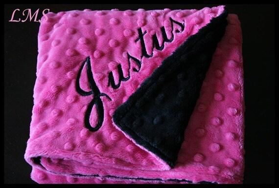 Baby Girl Blanket~Monogrammed Minky Fuchsia And Black~Crib~Nursery~Bedding~Name~Toddler~Personalized~Shower Gift~