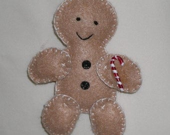 Felt Christmas Ornament - Gingerbread Man