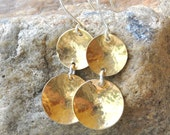 Red Brass Double Disc Earrings, hammered