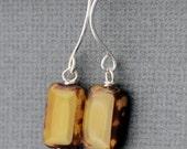 Mustard Tab Earrings, sterling silver, czech glass