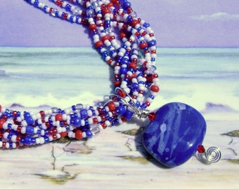 Americana multistrand red white blue necklace